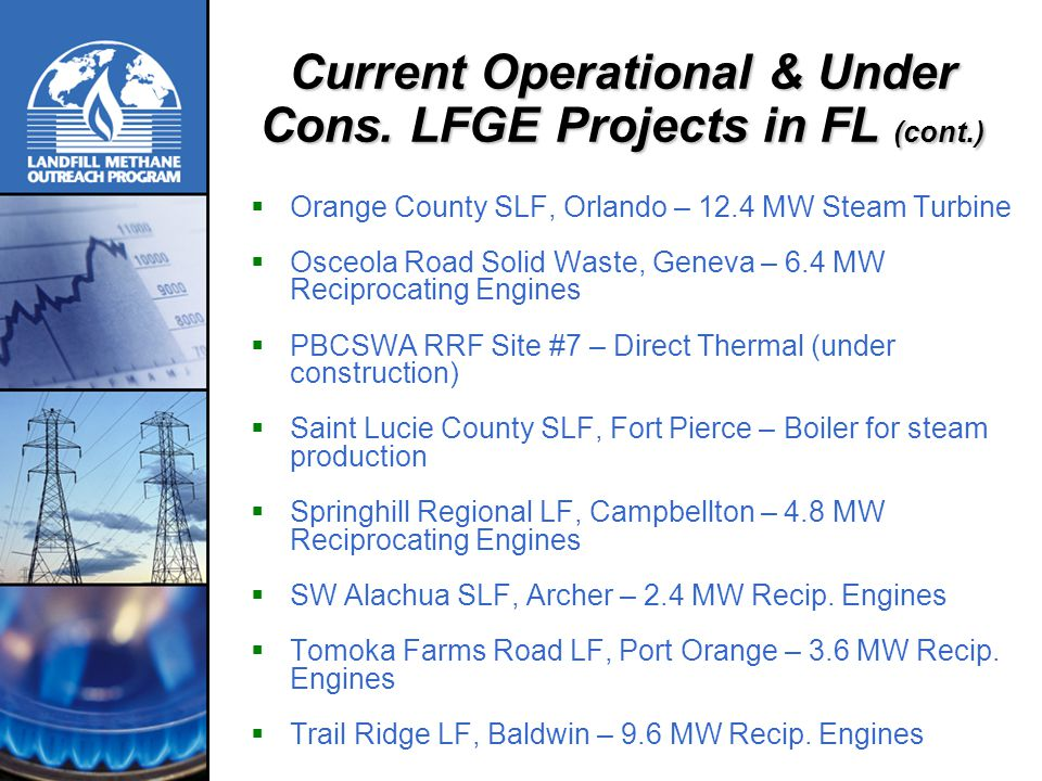 Current Operational & Under Cons. LFGE Projects in FL (cont.)