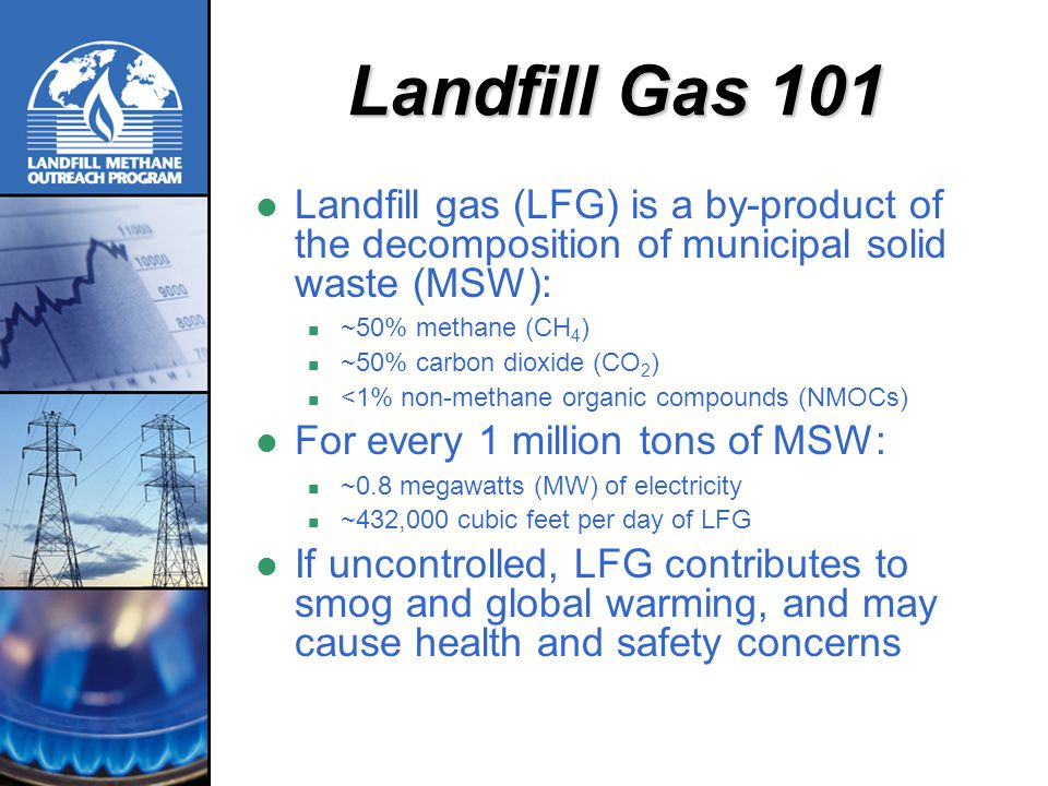 Landfill Gas 101 Landfill gas (LFG) is a by-product of the decomposition of municipal solid waste (MSW):