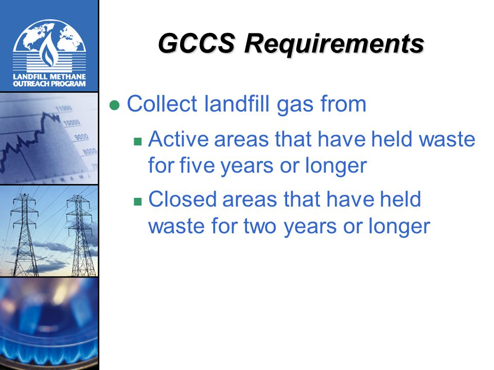GCCS Requirements Collect landfill gas from