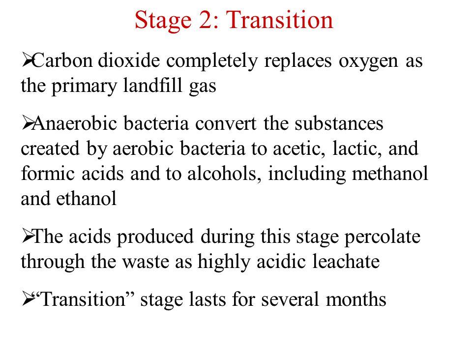 Stage 2: Transition Carbon dioxide completely replaces oxygen as the primary landfill gas.