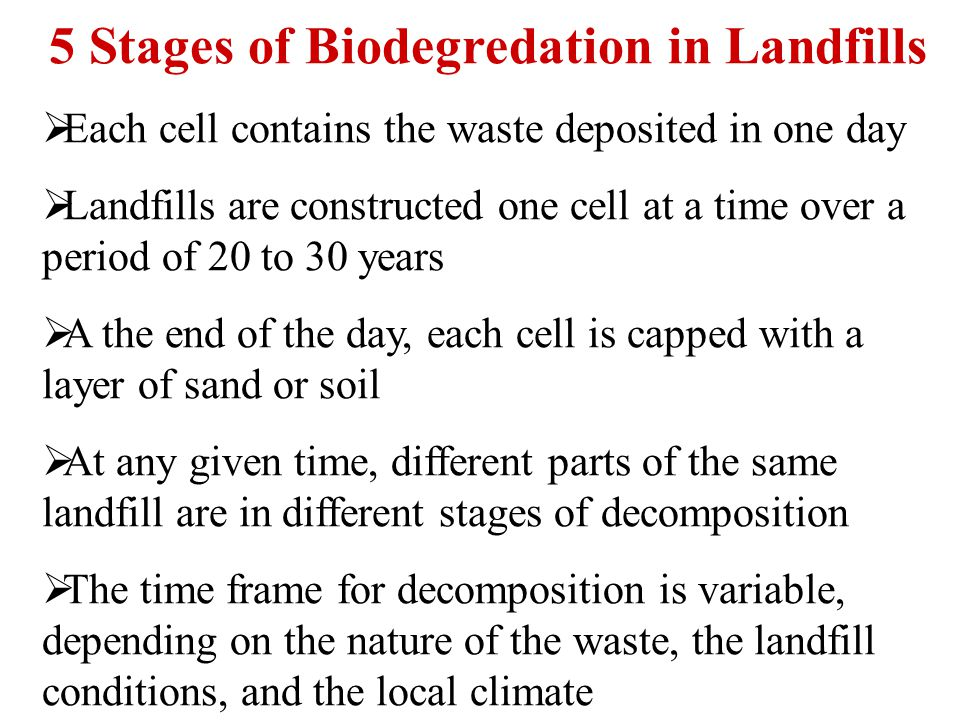 5 Stages of Biodegredation in Landfills