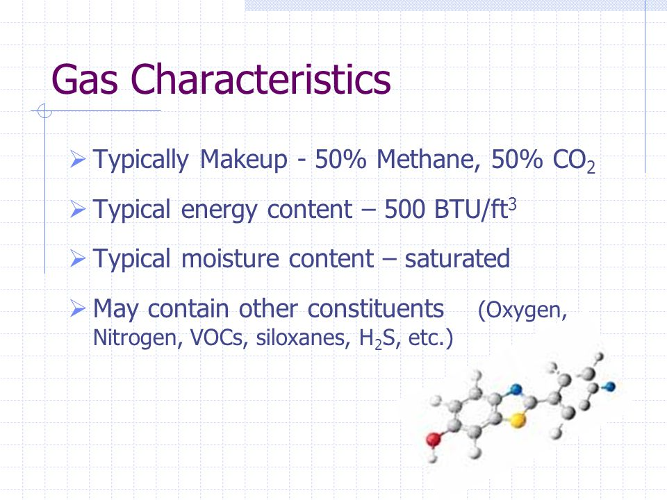 Gas Characteristics Typically Makeup - 50% Methane, 50% CO2