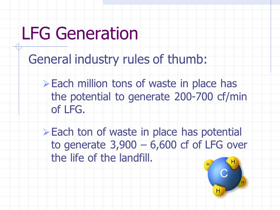 LFG Generation General industry rules of thumb: