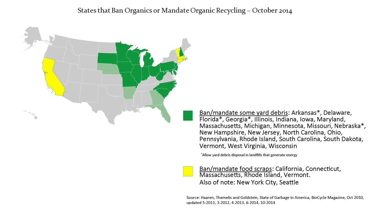 States that Ban Organics or Mandate Organic Recycling – October 2014
