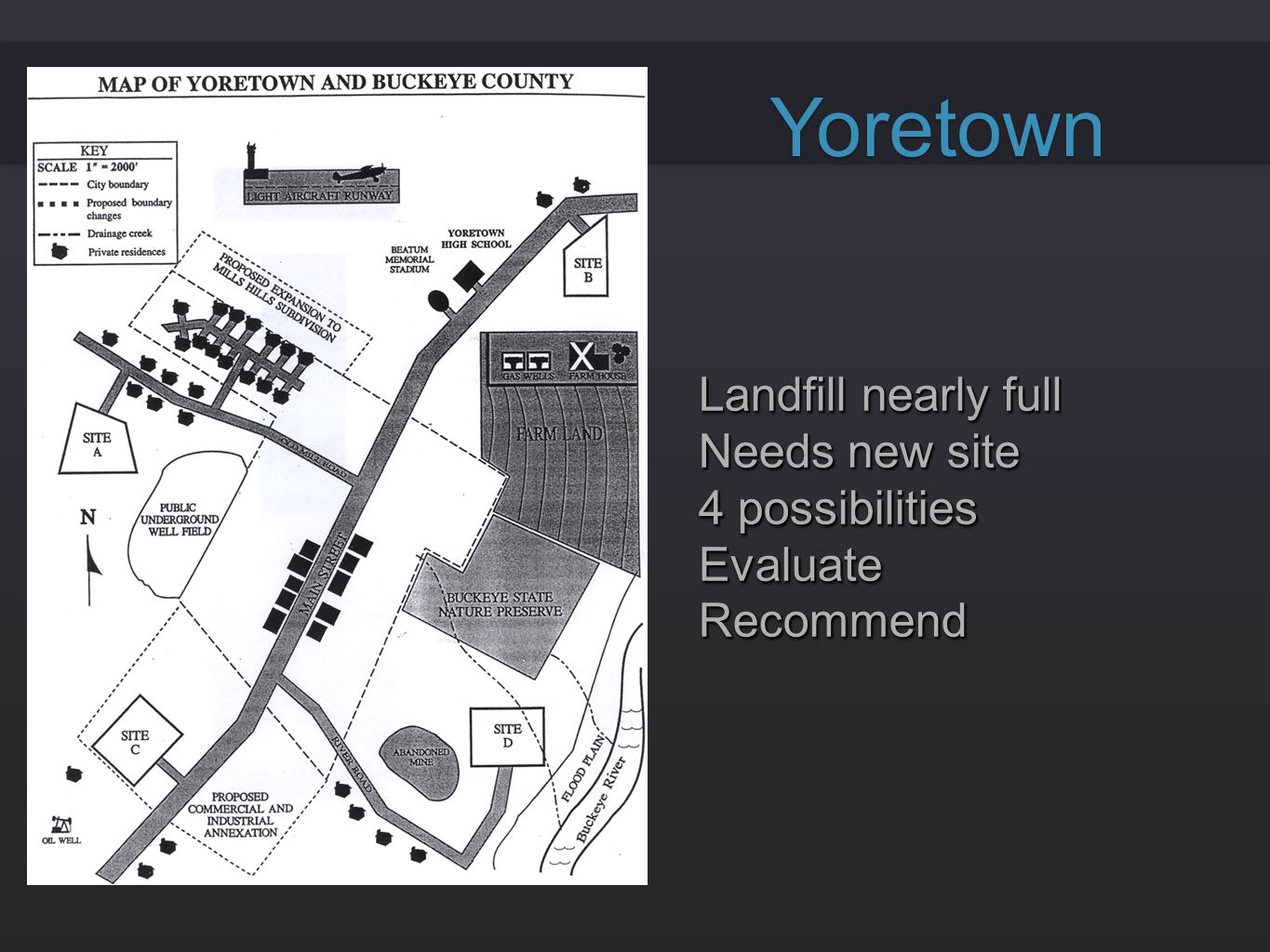 Yoretown Landfill nearly full Needs new site 4 possibilities Evaluate