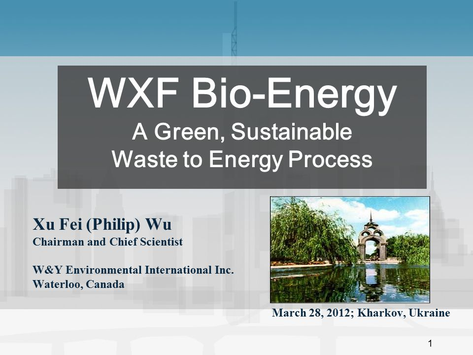 WXF Bio-Energy A Green, Sustainable Waste to Energy Process