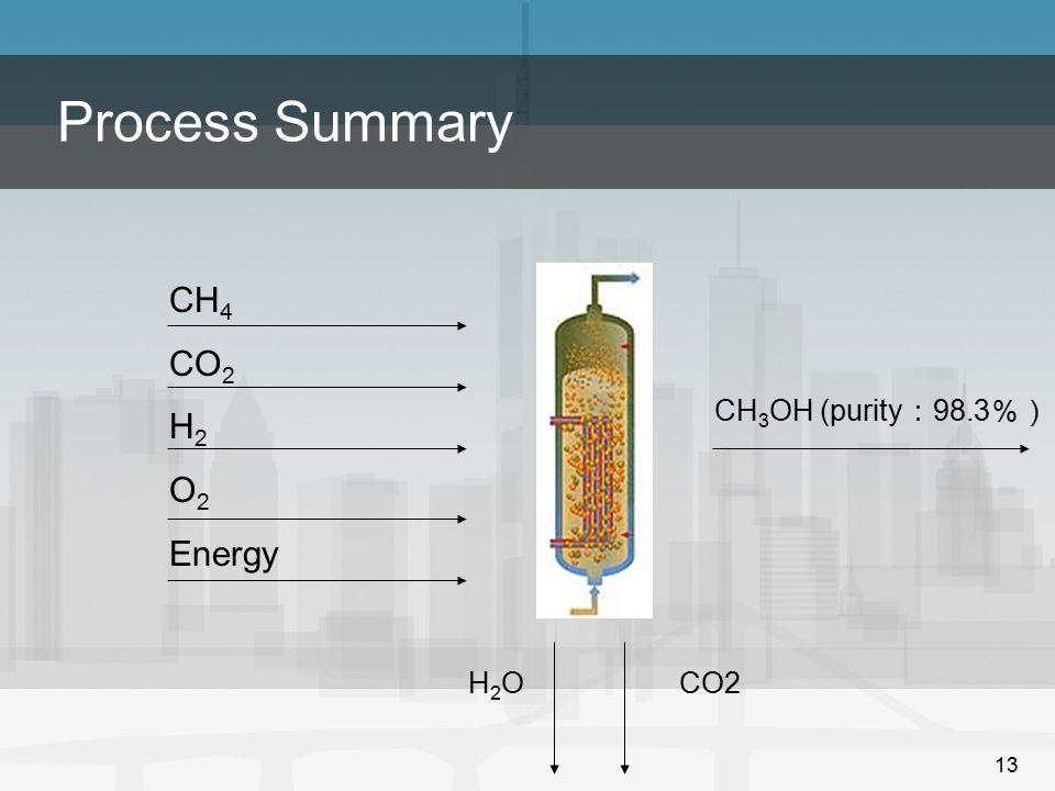 Process Summary CH4 CO2 H2 O2 Energy CH3OH (purity:98.3%) H2O CO2