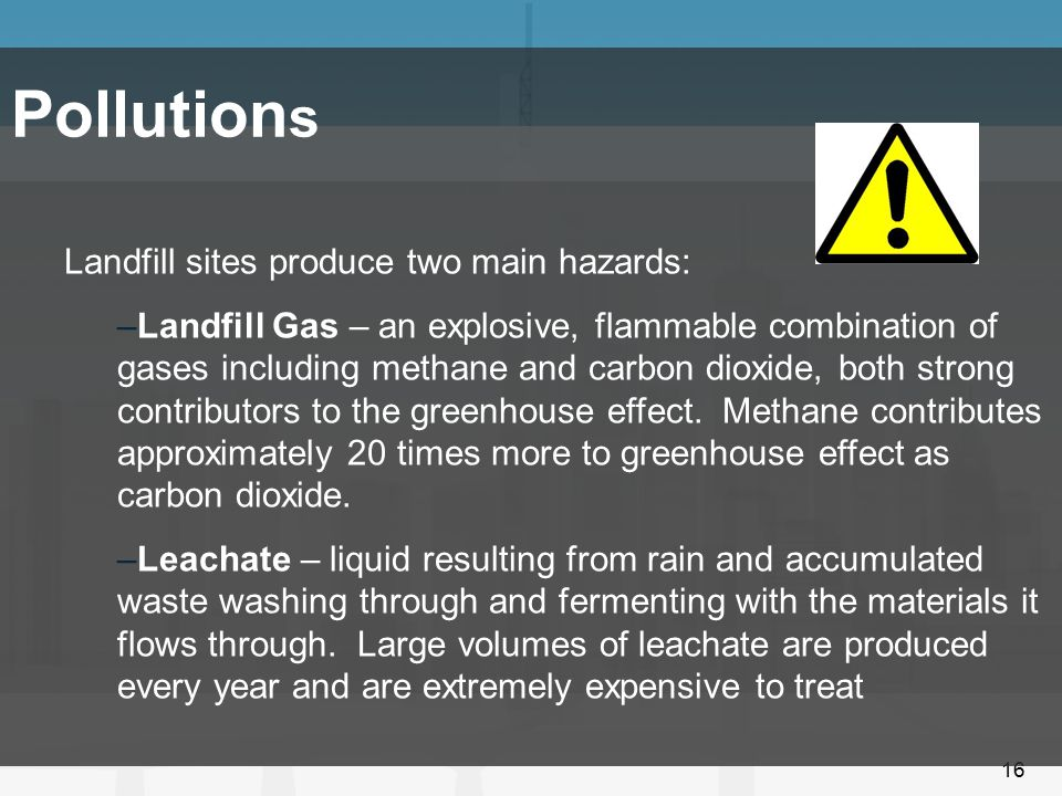 Pollutions Landfill sites produce two main hazards: