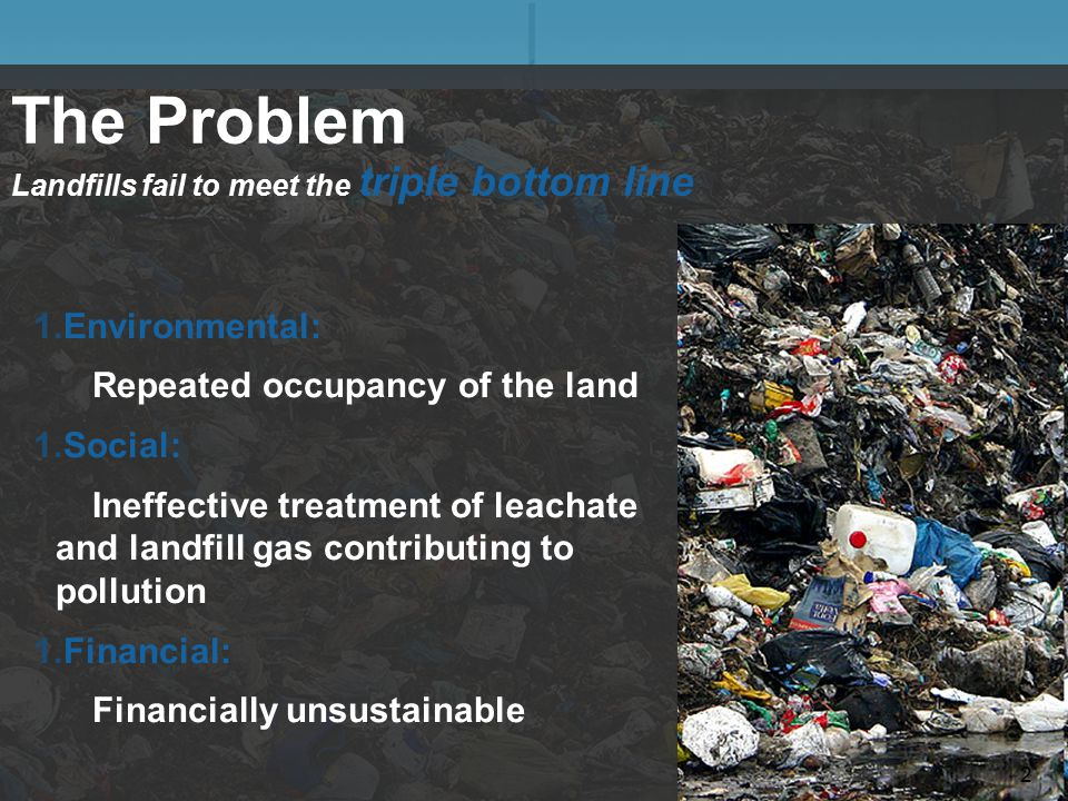 The Problem Landfills fail to meet the triple bottom line