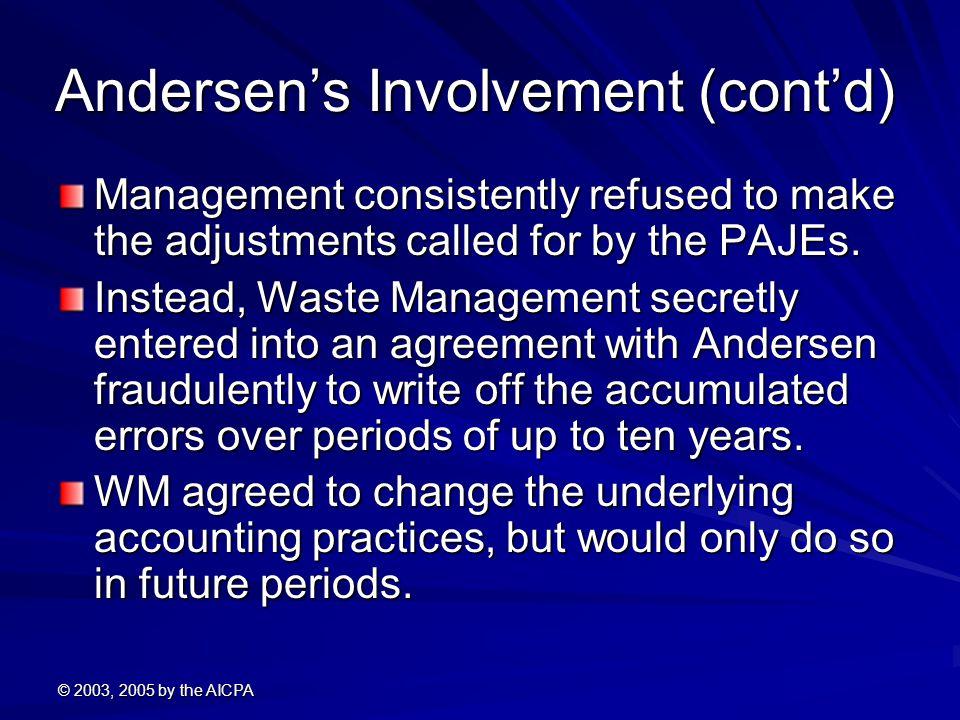 Andersen's Involvement (cont'd)