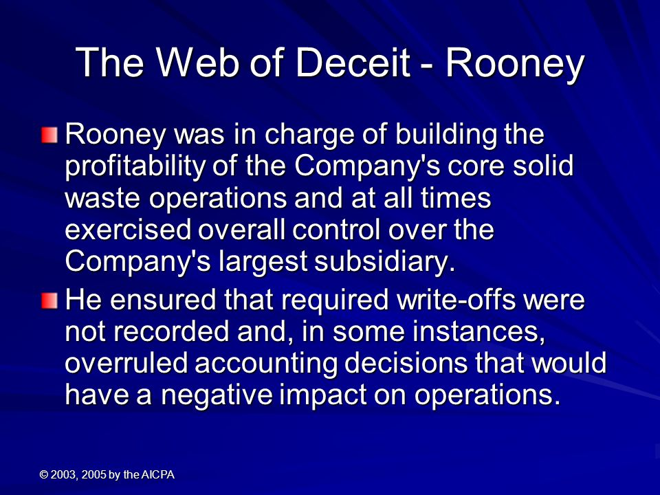 The Web of Deceit - Rooney