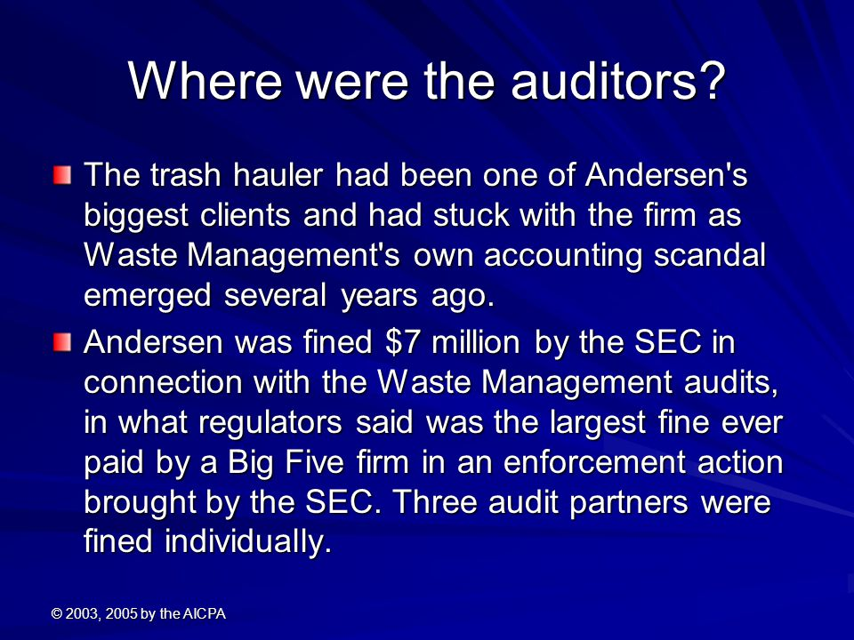 Where were the auditors