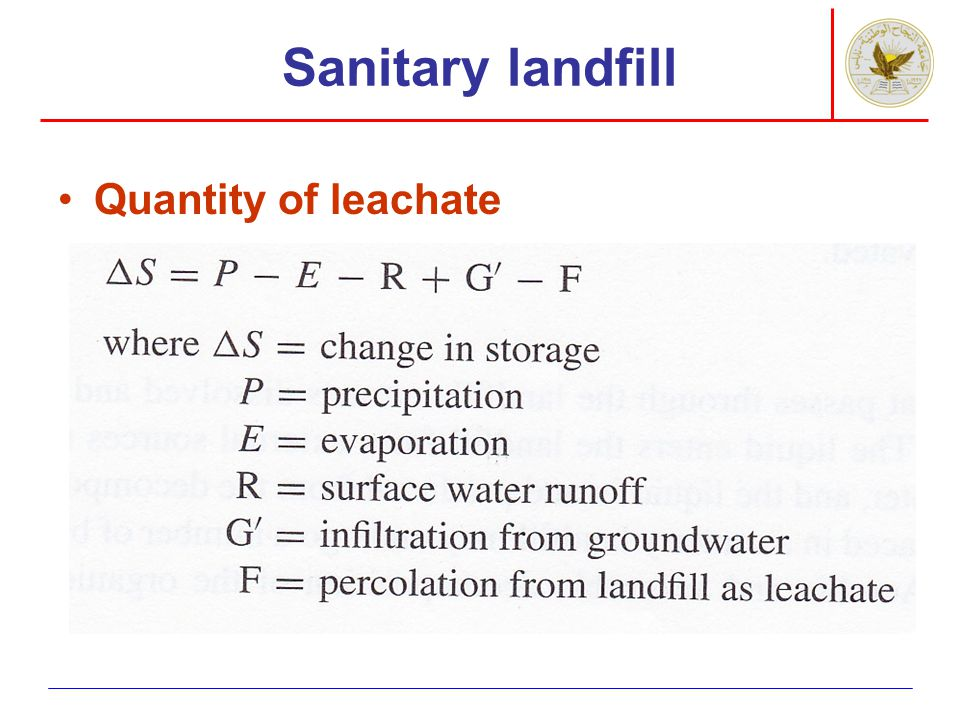Sanitary landfill Quantity of leachate