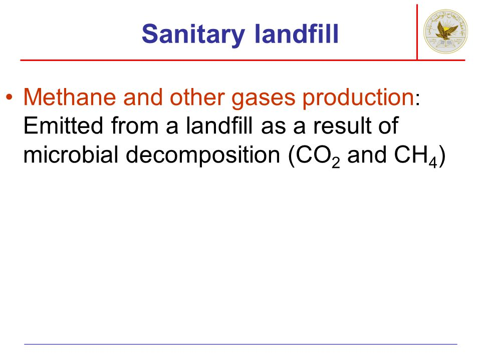 Sanitary landfill Methane and other gases production: Emitted from a landfill as a result of microbial decomposition (CO2 and CH4)