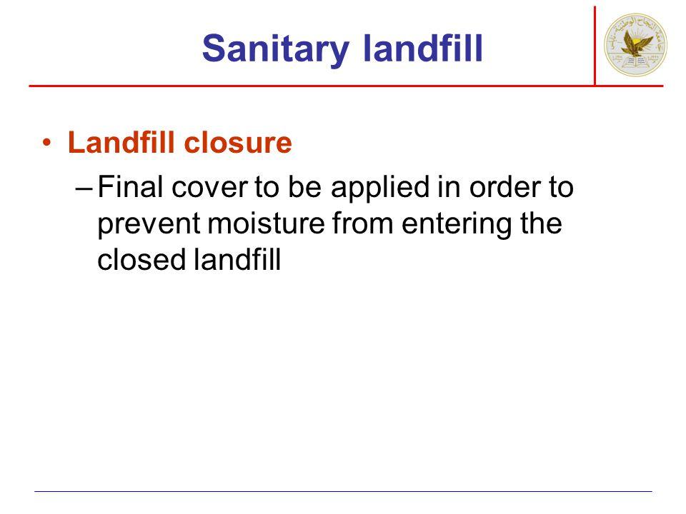 Sanitary landfill Landfill closure
