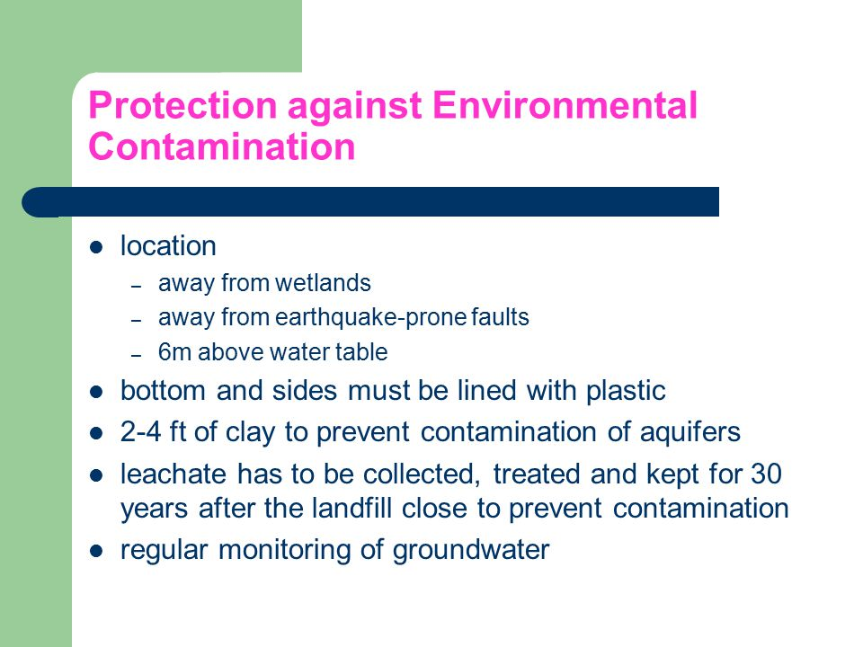 Protection against Environmental Contamination