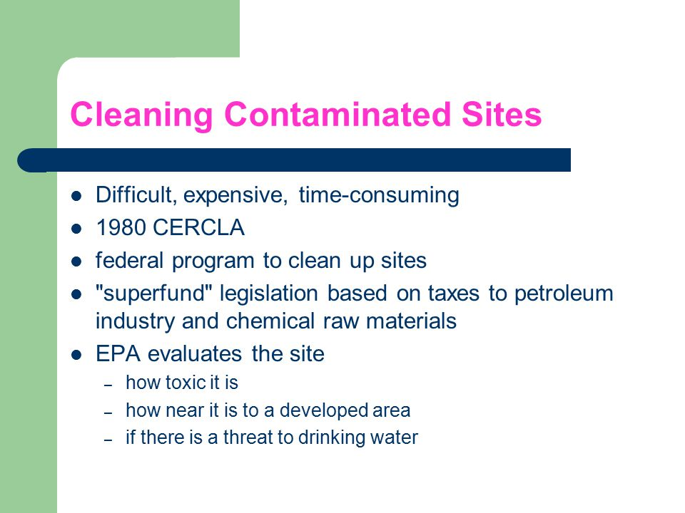 Cleaning Contaminated Sites