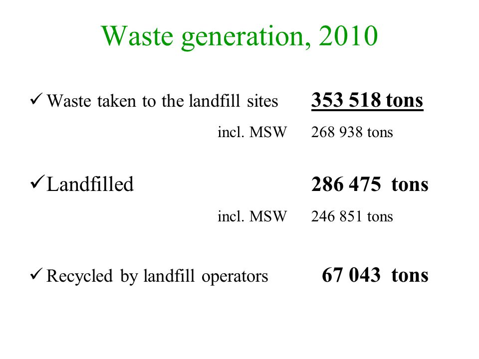Waste generation, 2010 incl. MSW 268 938 tons Landfilled 286 475 tons