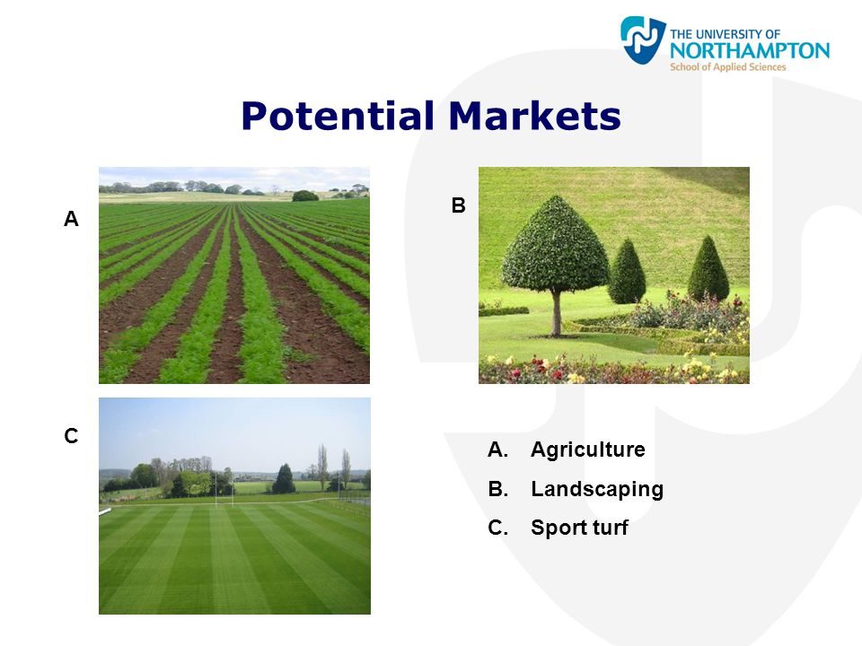 Potential Markets B A C Agriculture Landscaping Sport turf