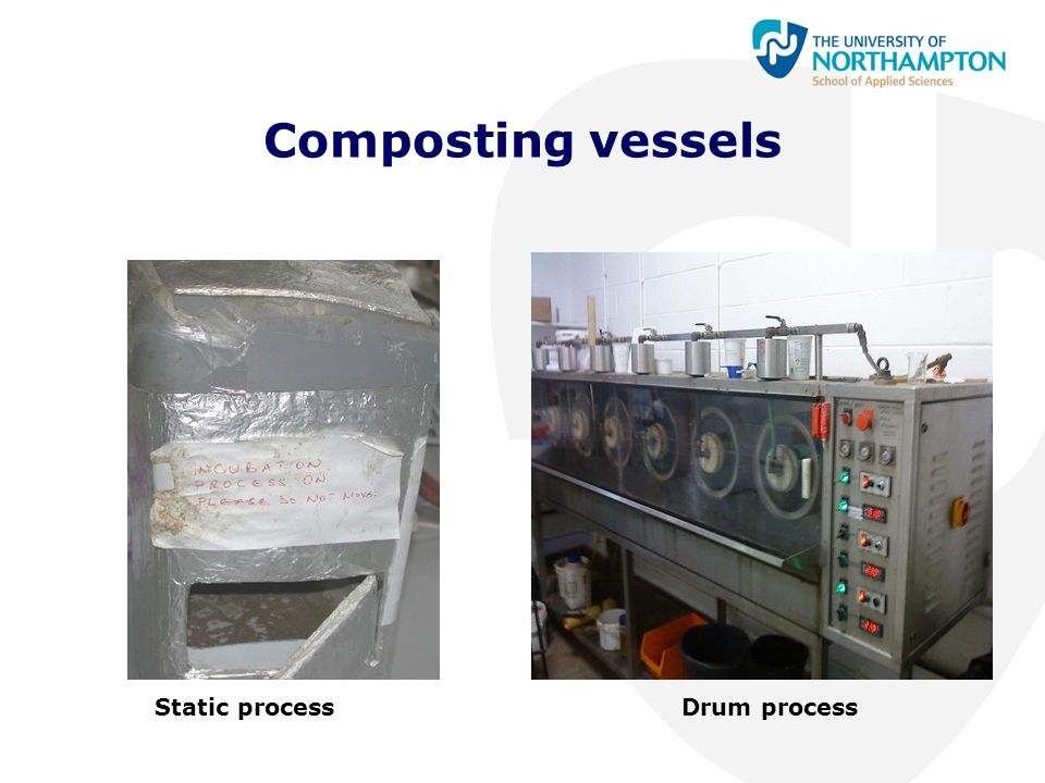 Composting vessels Static process Drum process
