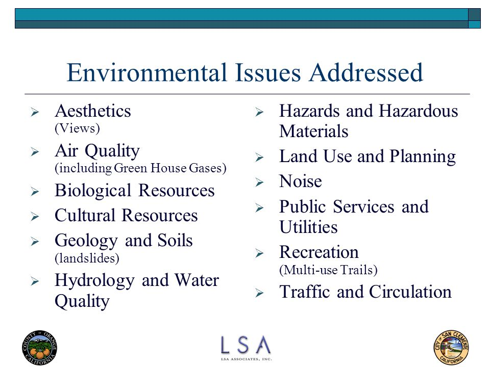 Environmental Issues Addressed