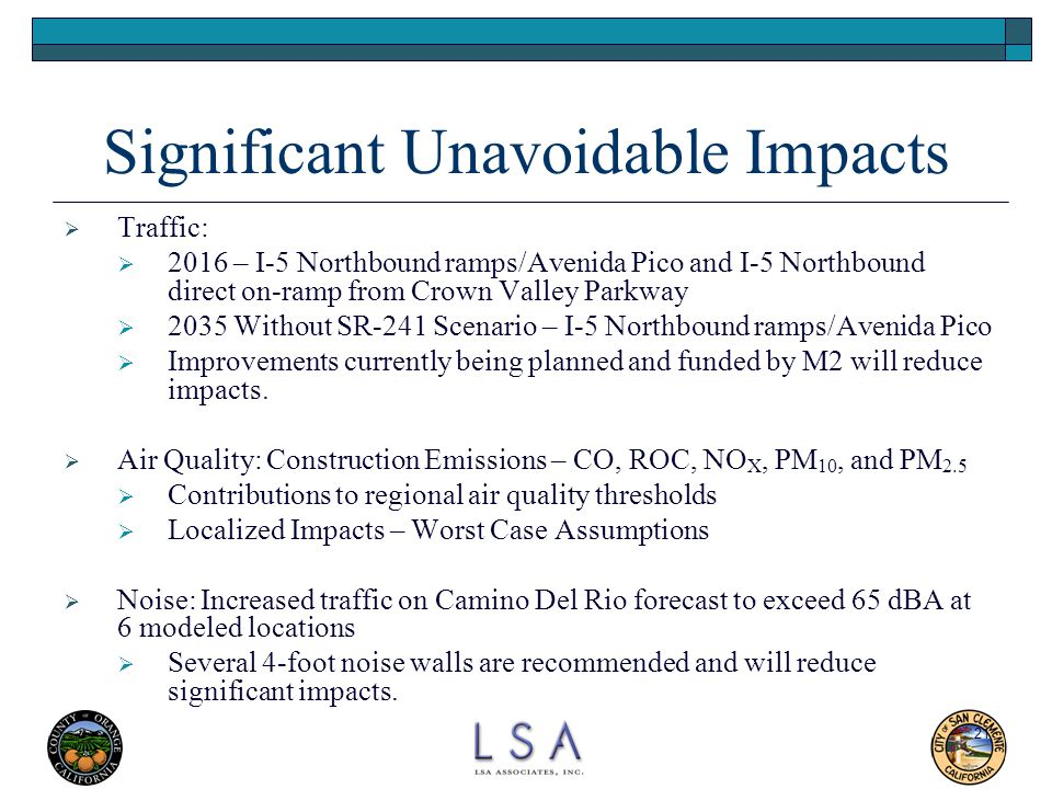 Significant Unavoidable Impacts