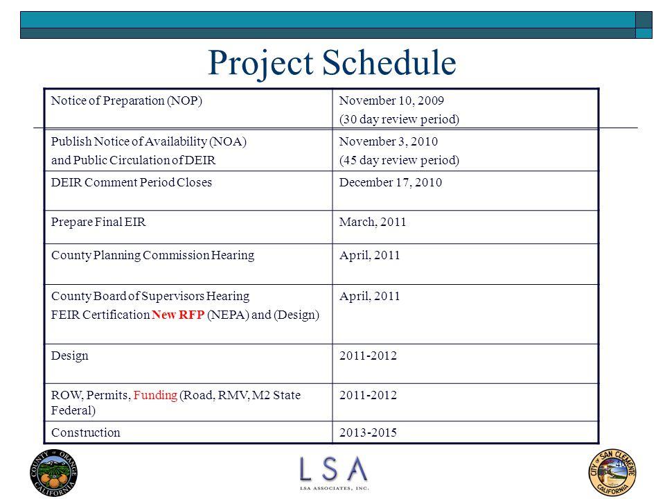 Project Schedule Notice of Preparation (NOP) November 10, 2009