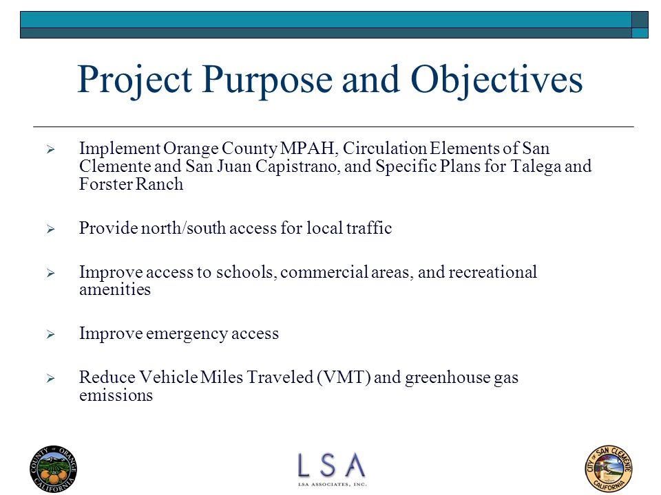 Project Purpose and Objectives