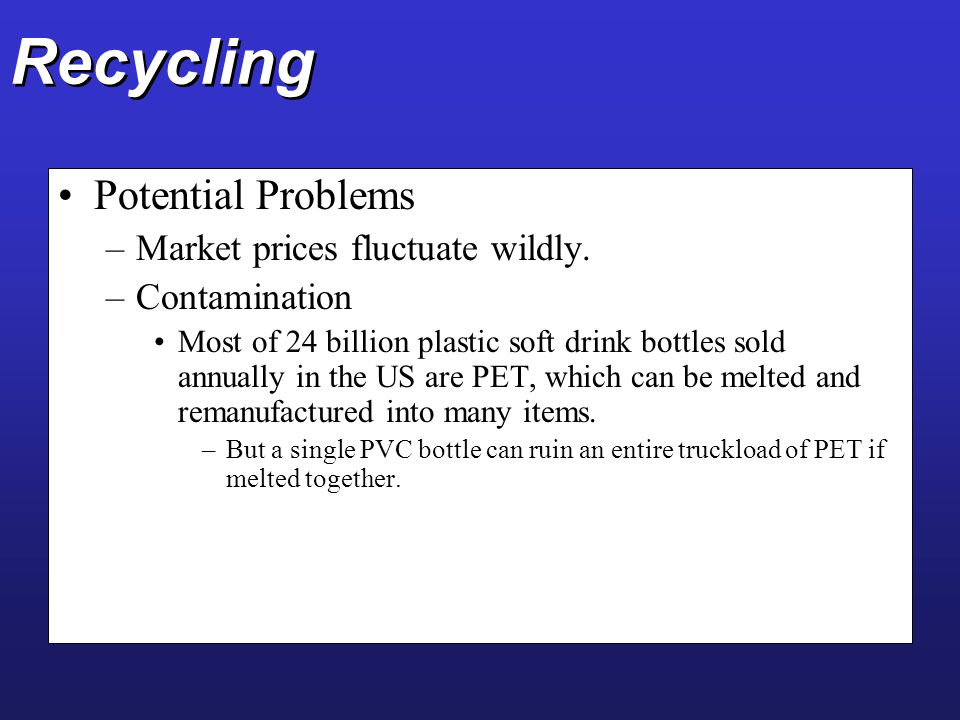 Recycling Potential Problems Market prices fluctuate wildly.