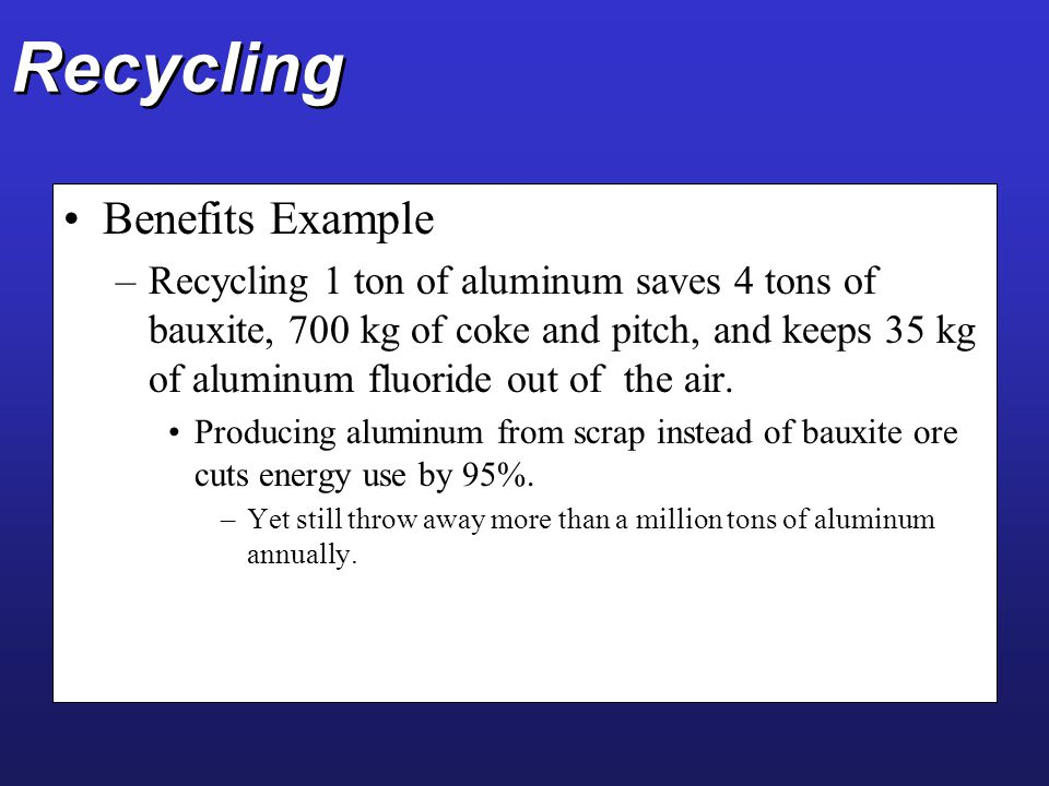 Recycling Benefits Example