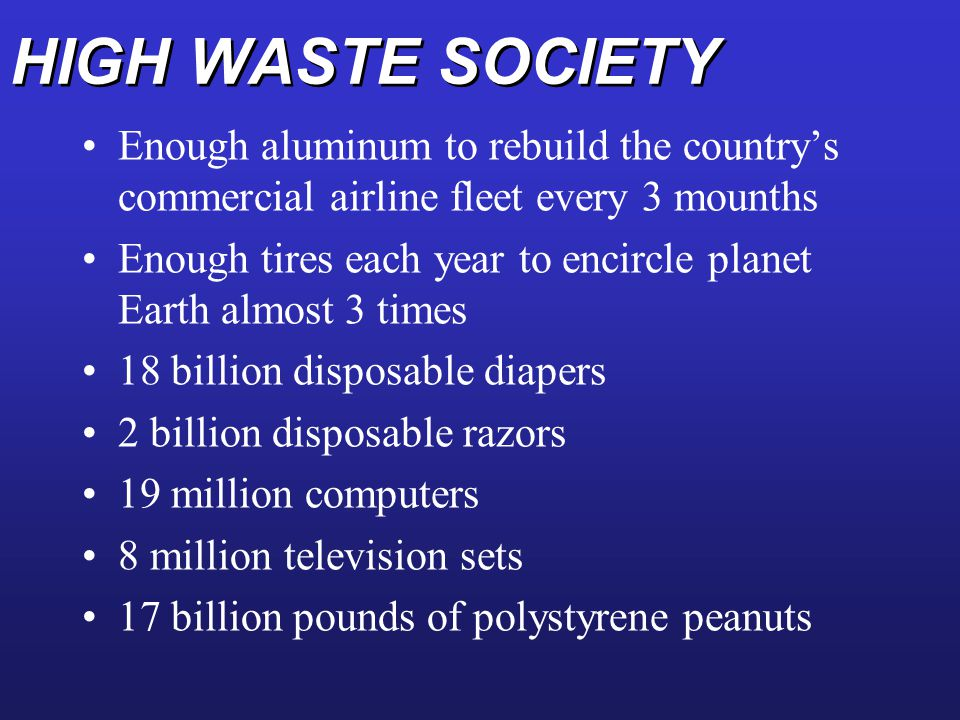 HIGH WASTE SOCIETY Enough aluminum to rebuild the country's commercial airline fleet every 3 mounths.