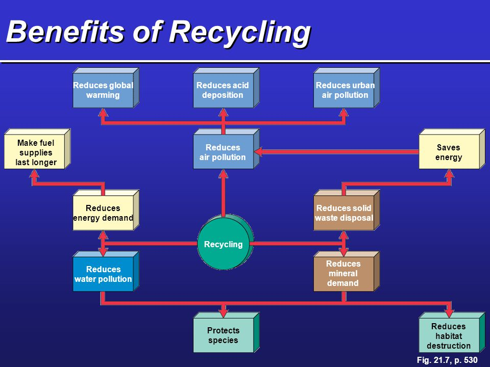 Benefits of Recycling Reduces global warming Reduces acid deposition