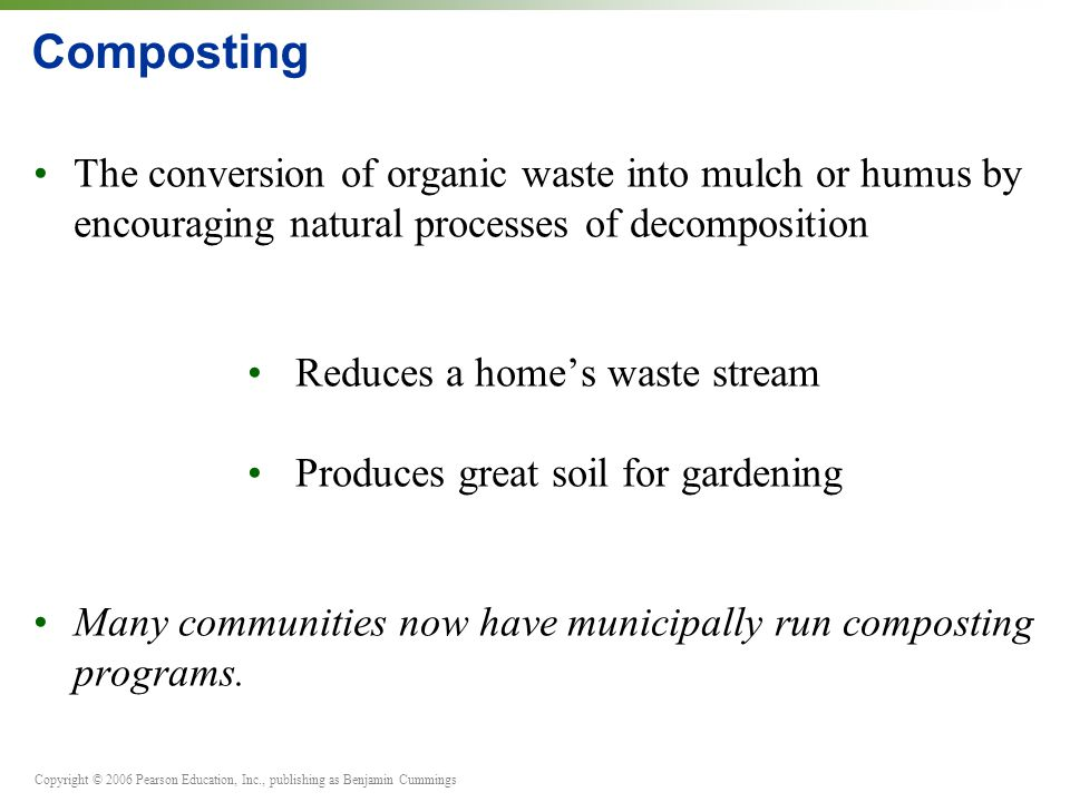 Composting The conversion of organic waste into mulch or humus by encouraging natural processes of decomposition.
