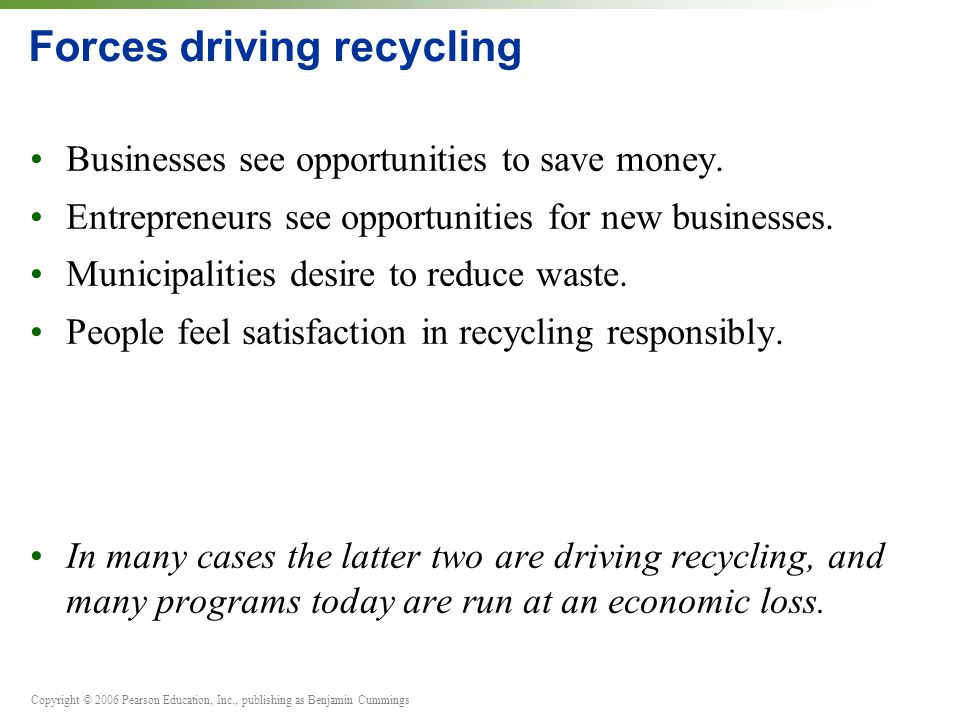 Forces driving recycling