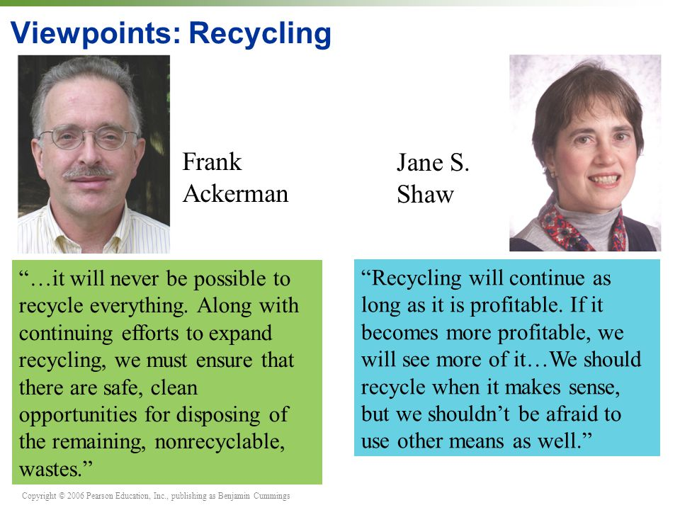 Viewpoints: Recycling