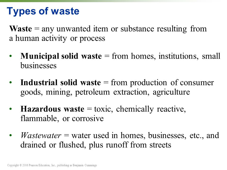 Types of waste Waste = any unwanted item or substance resulting from a human activity or process.