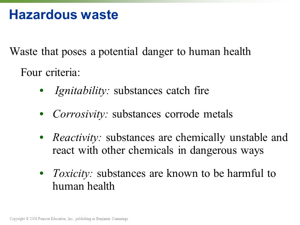 Hazardous waste Waste that poses a potential danger to human health
