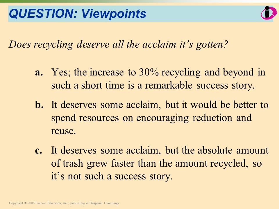 QUESTION: Viewpoints Does recycling deserve all the acclaim it's gotten