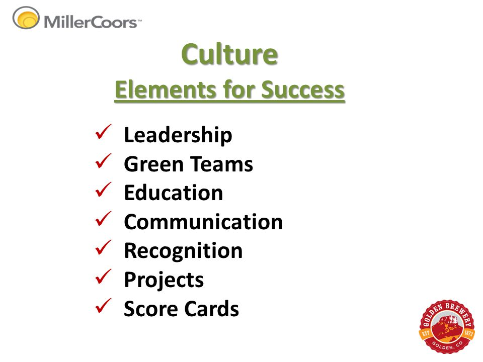 Culture Elements for Success Leadership Green Teams Education