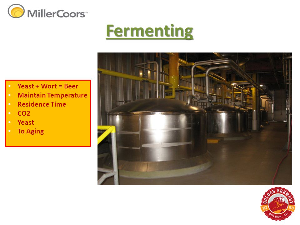 Fermenting Yeast + Wort = Beer Maintain Temperature Residence Time CO2