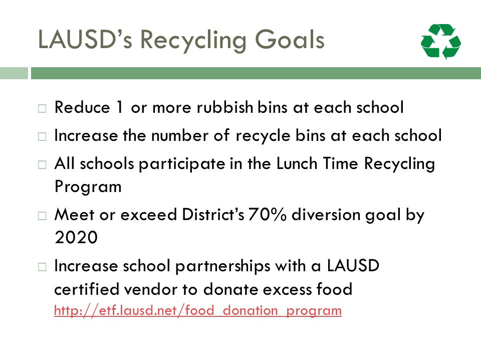 LAUSD's Recycling Goals