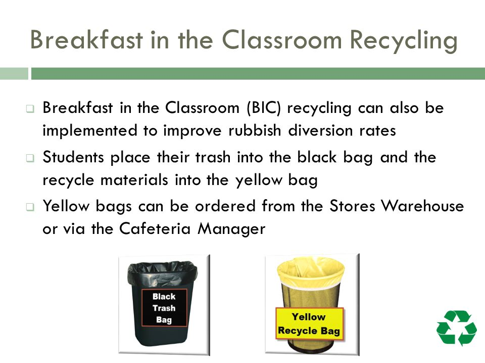 Breakfast in the Classroom Recycling