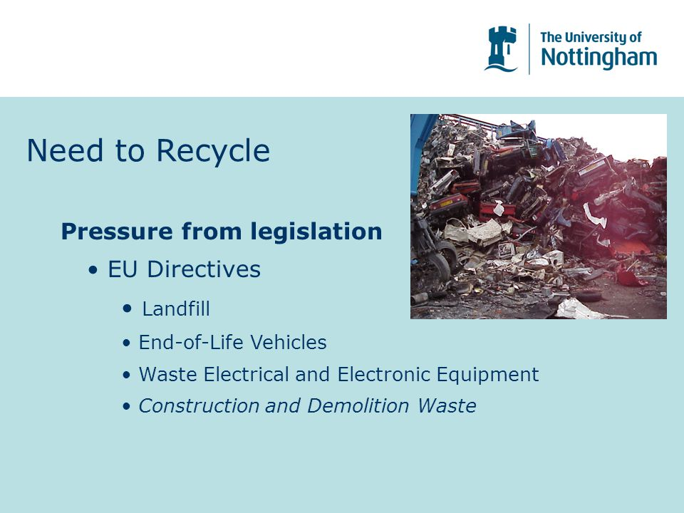 Need to Recycle Pressure from legislation EU Directives Landfill