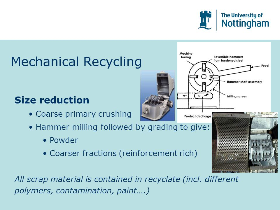 Mechanical Recycling Size reduction Coarse primary crushing