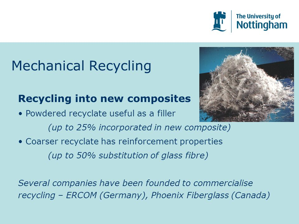 Mechanical Recycling Recycling into new composites
