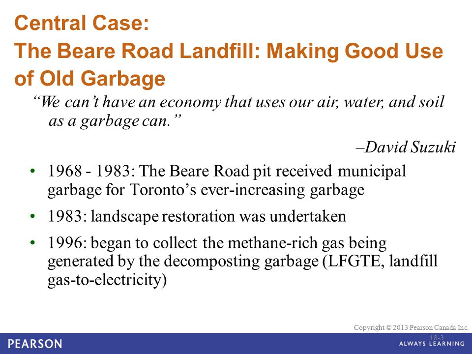 Central Case: The Beare Road Landfill: Making Good Use of Old Garbage