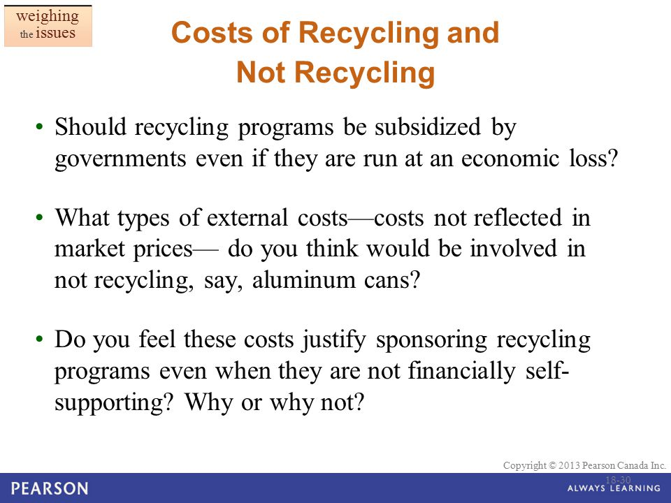 Costs of Recycling and Not Recycling