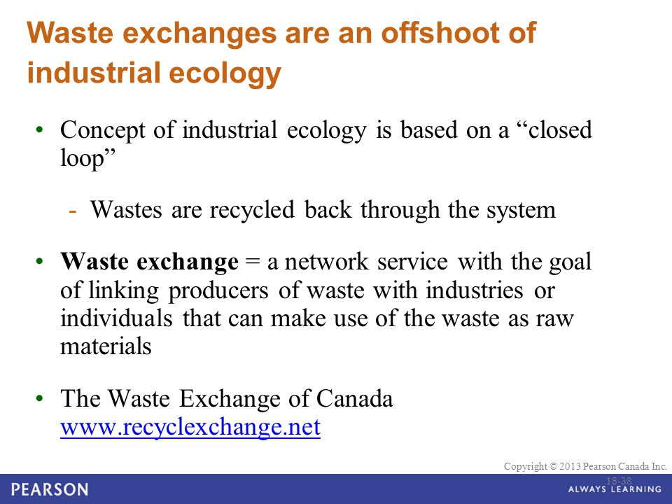 Waste exchanges are an offshoot of industrial ecology