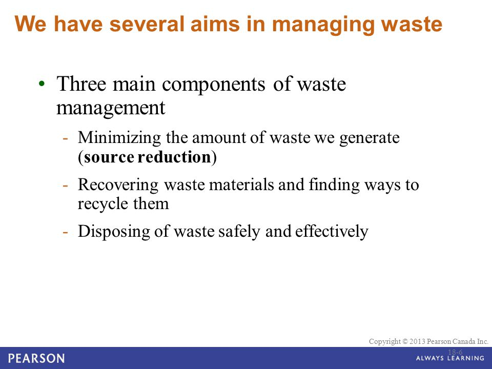 We have several aims in managing waste