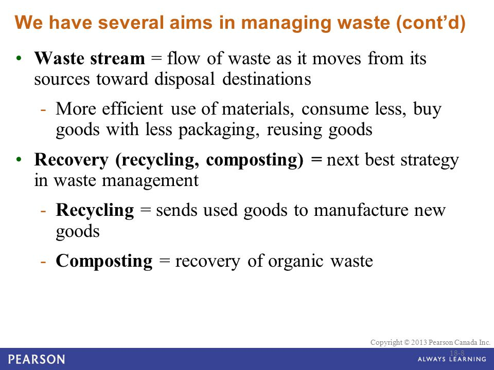 We have several aims in managing waste (cont'd)